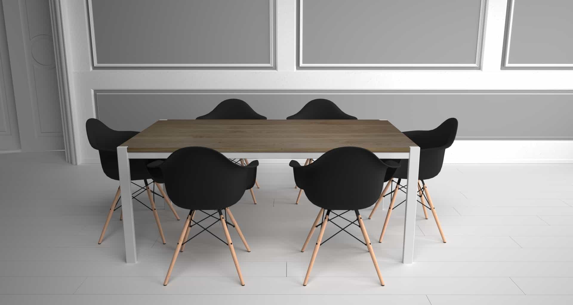 Design Metallmöbel Tisch Ferrum 001 weiß aus Edel-Stahl Holz Eiche Stahlzart timeless design