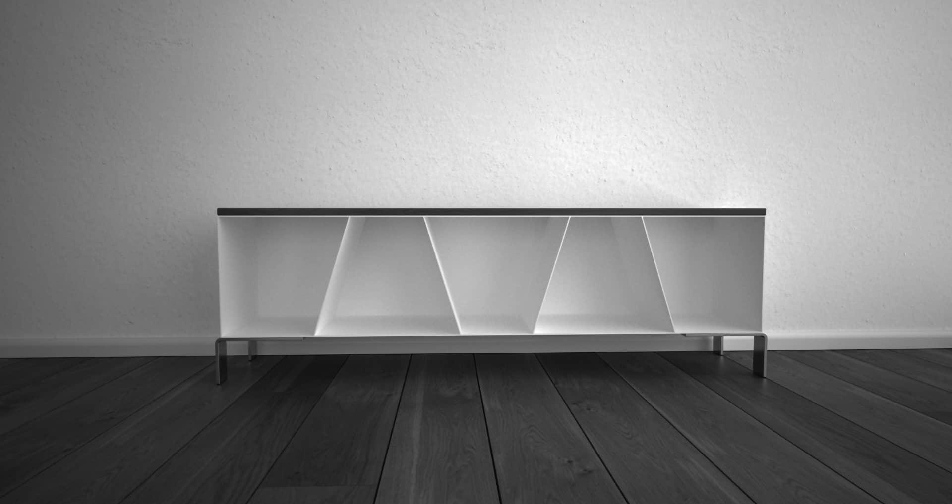 Design Metallmöbel TV-Sideboard Mehrzweck-Aufbewahrung aus Stahl Holz Eiche Stahlzart
