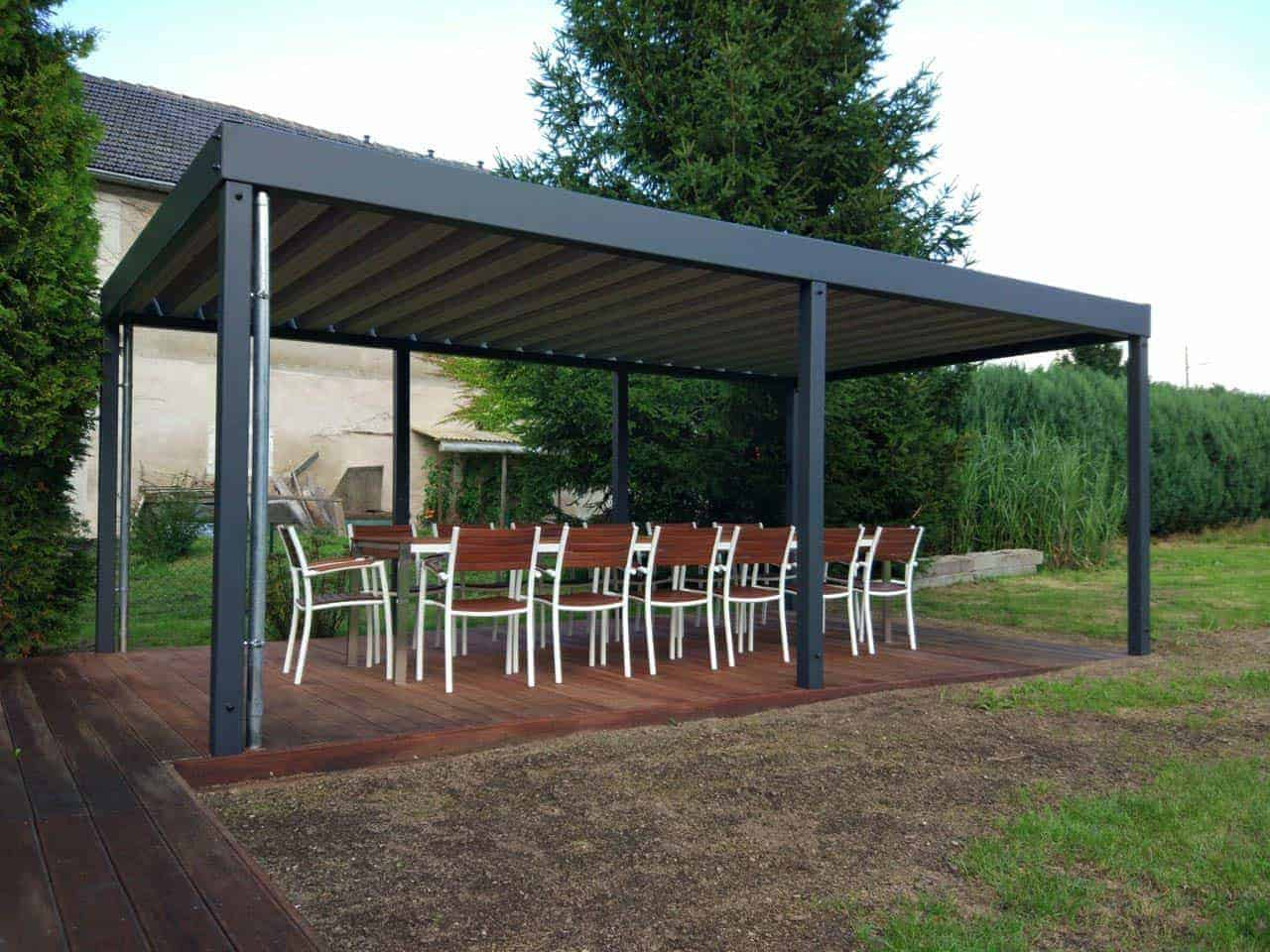 pavillon holz metall pavillon 001 der metall carport mit. Black Bedroom Furniture Sets. Home Design Ideas