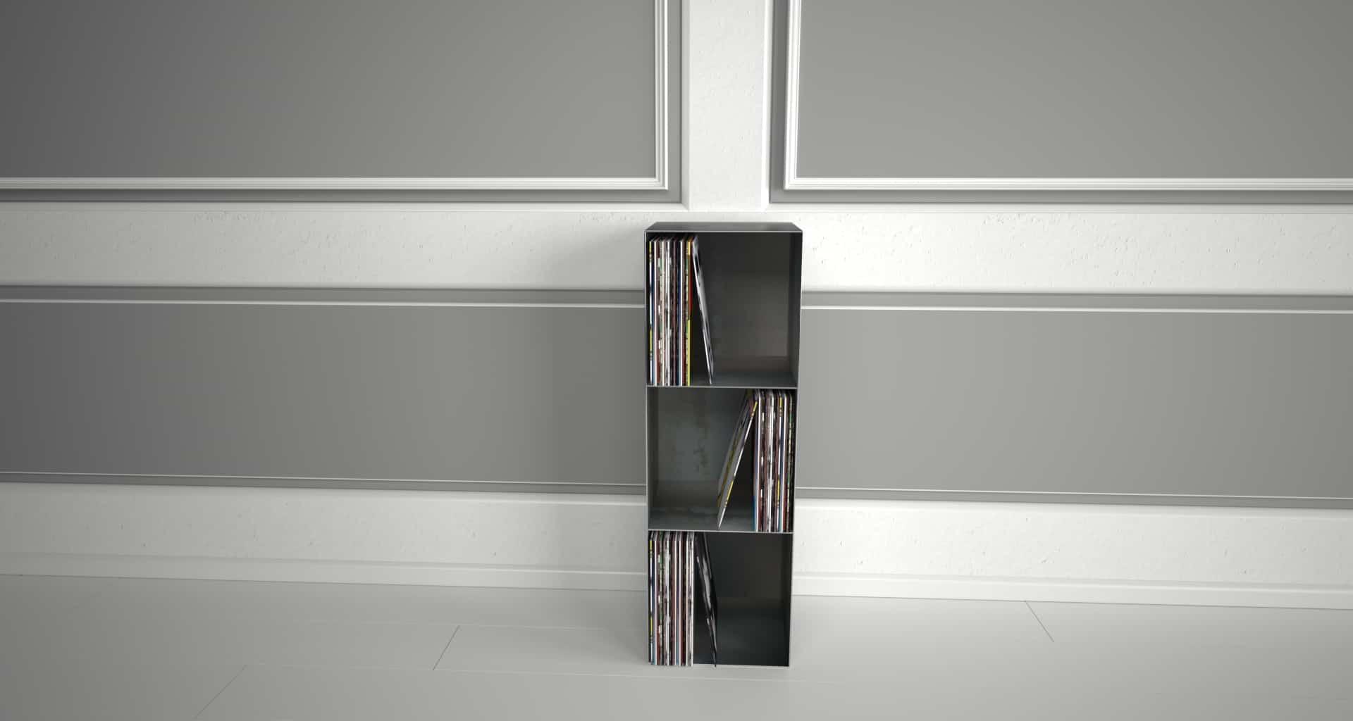 Design Metallmöbel Vinyl-Platten-Regal Mehrzweck-Aufbewahrung aus Stahl Stahlzart