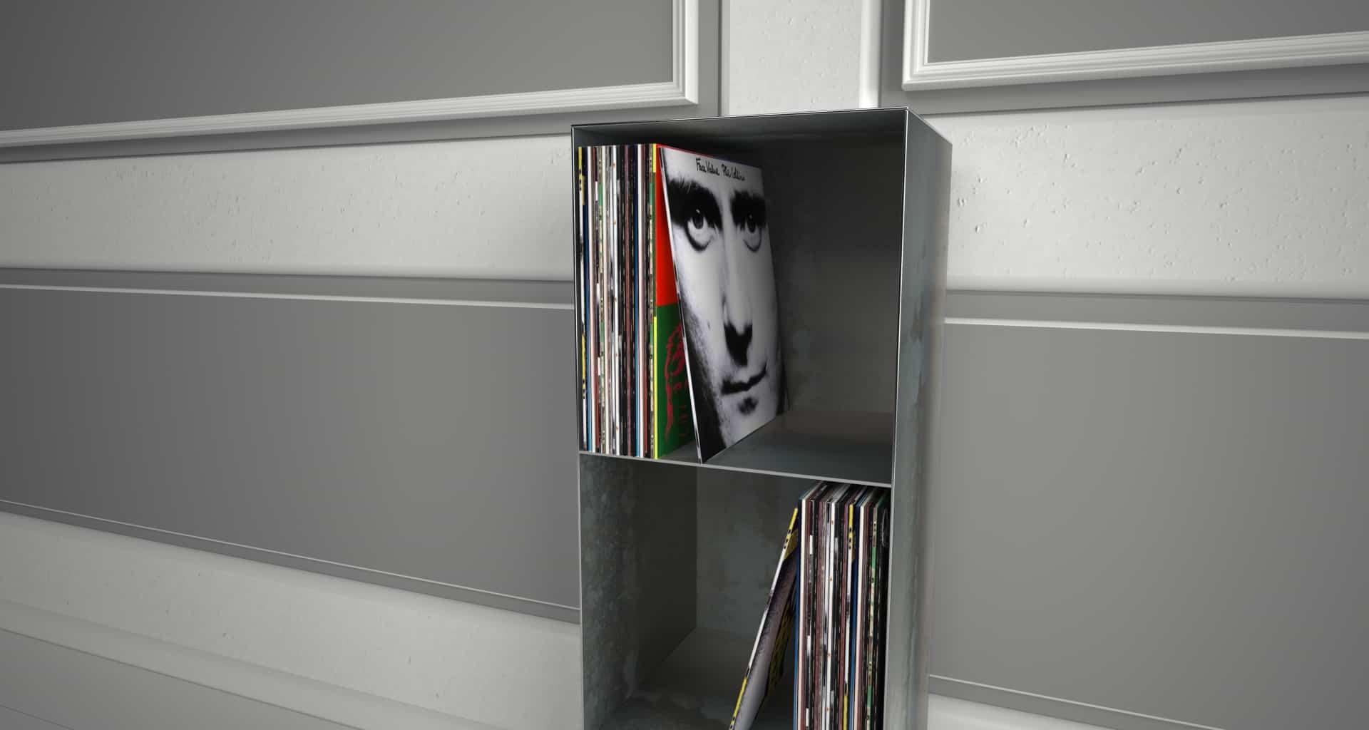 Design Metallmöbel Vinyl-Platten-Regal Mehrzweck-Aufbewahrung aus Stahl Stahlzart timeless design