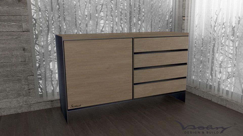 design-metallmöbel-stahlmöbel-sideboard-brennholzregal-kaminholz-aufbewahrung-kaminholzaufbewahrung-innen-außen-wohnzimmer-mit-schubladen