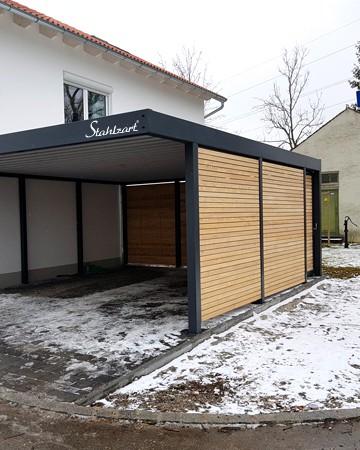 Metall Carport Holz Doppelcaport Bautzen · Stahl modern · STAHLZART