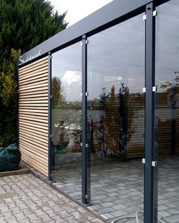 Carport Glas Metall Stahl Holz Bern · mit Abstellraum · STAHLZART